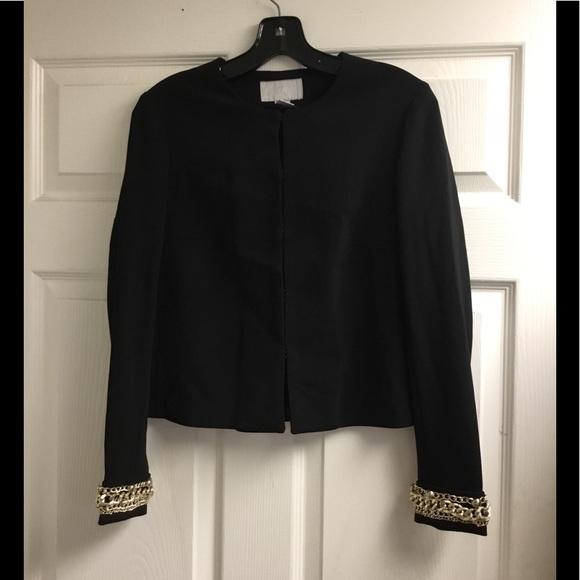 H&M Jackets & Blazers - H&M gold chain embellished black jacket size 8